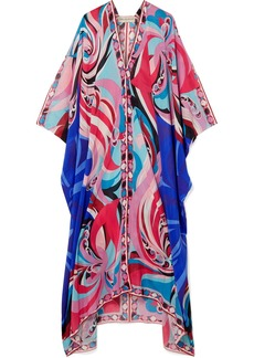 Parrots printed cotton and silk-blend voile kaftan