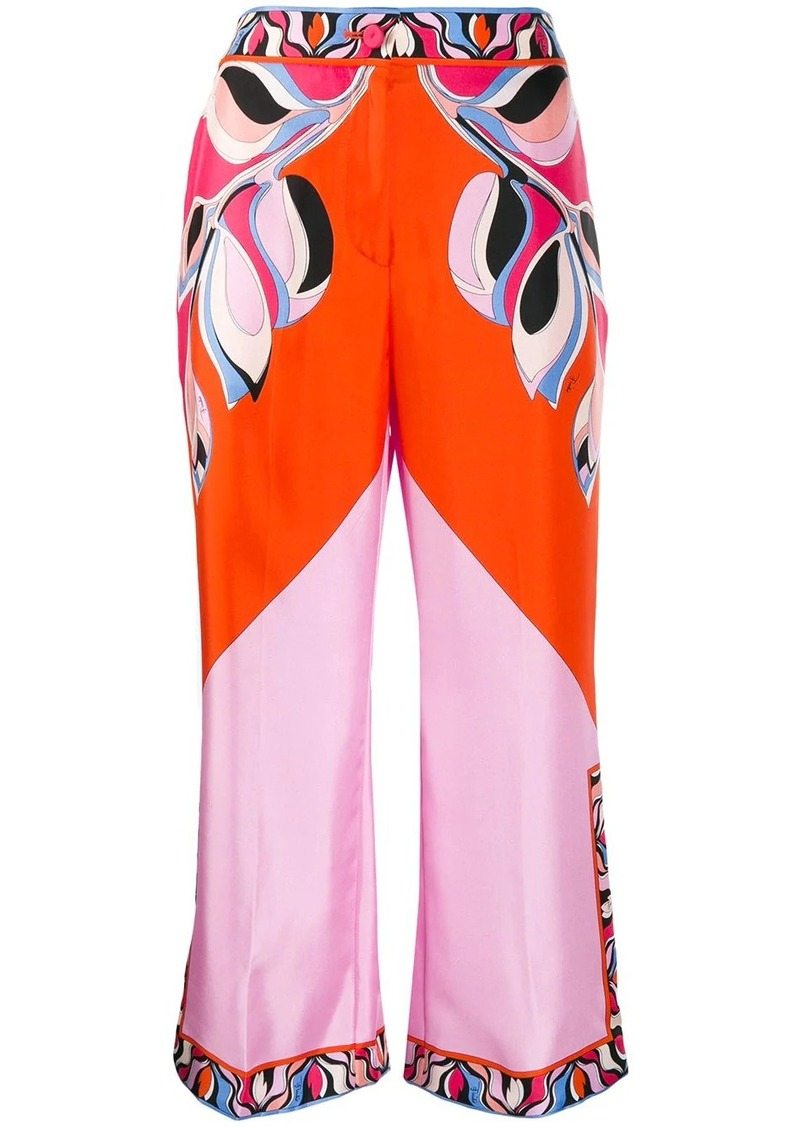 Emilio Pucci patterned wide-leg cropped trousers