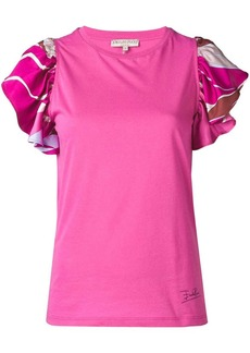 Emilio Pucci Pink Frill Sleeve T-shirt