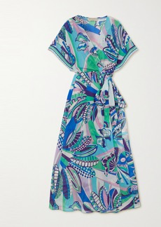 Emilio Pucci Printed Cotton And Silk-blend Maxi Wrap Dress