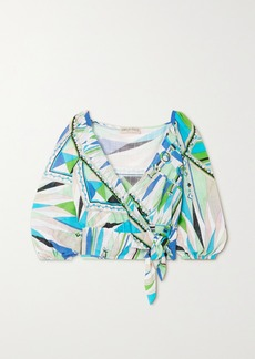 Emilio Pucci Printed Cotton-voile Wrap Top