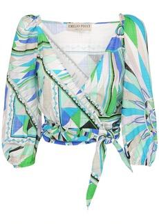 Emilio Pucci Printed Cotton Wrap Crop Top