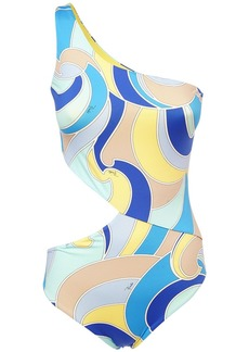 Emilio Pucci Printed Econyl One Shoulder Swimsuit