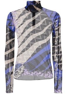 Emilio Pucci Printed Sheer Turtleneck Top