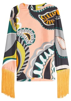 Emilio Pucci Printed Silk Blouse with Fringe