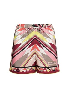 Emilio Pucci Printed Silk High Waist Satin Shorts