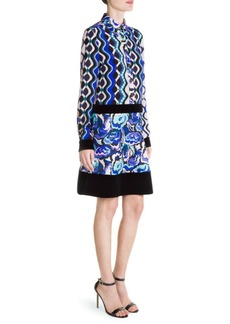 Emilio Pucci Printed Silk Velvet-Trim Shirt Dress