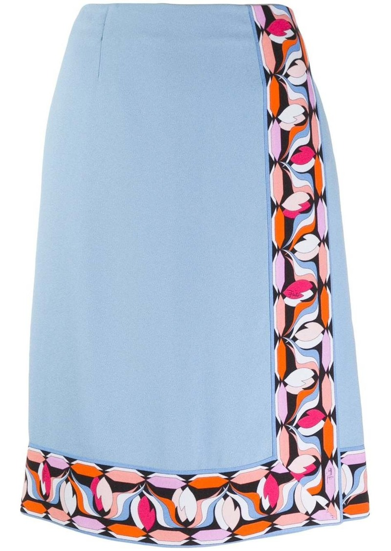 Emilio Pucci printed trim wrap skirt