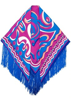 Emilio Pucci psychedelic pattern fringed scarf