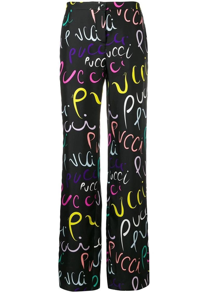 Emilio Pucci Pucci Pucci Print Silk Trousers