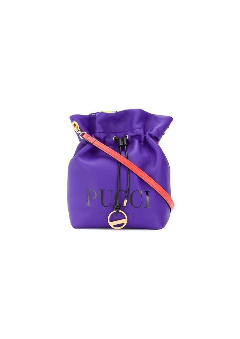 Emilio Pucci Purple Logo Print Bucket Bag