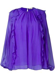 Emilio Pucci Purple Ruffled Long-Sleeve Silk Top