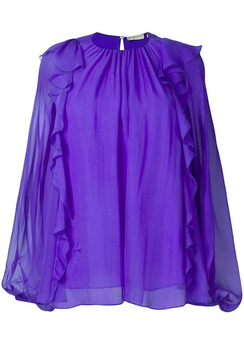 Emilio Pucci Ruffled Long-Sleeve Silk Top