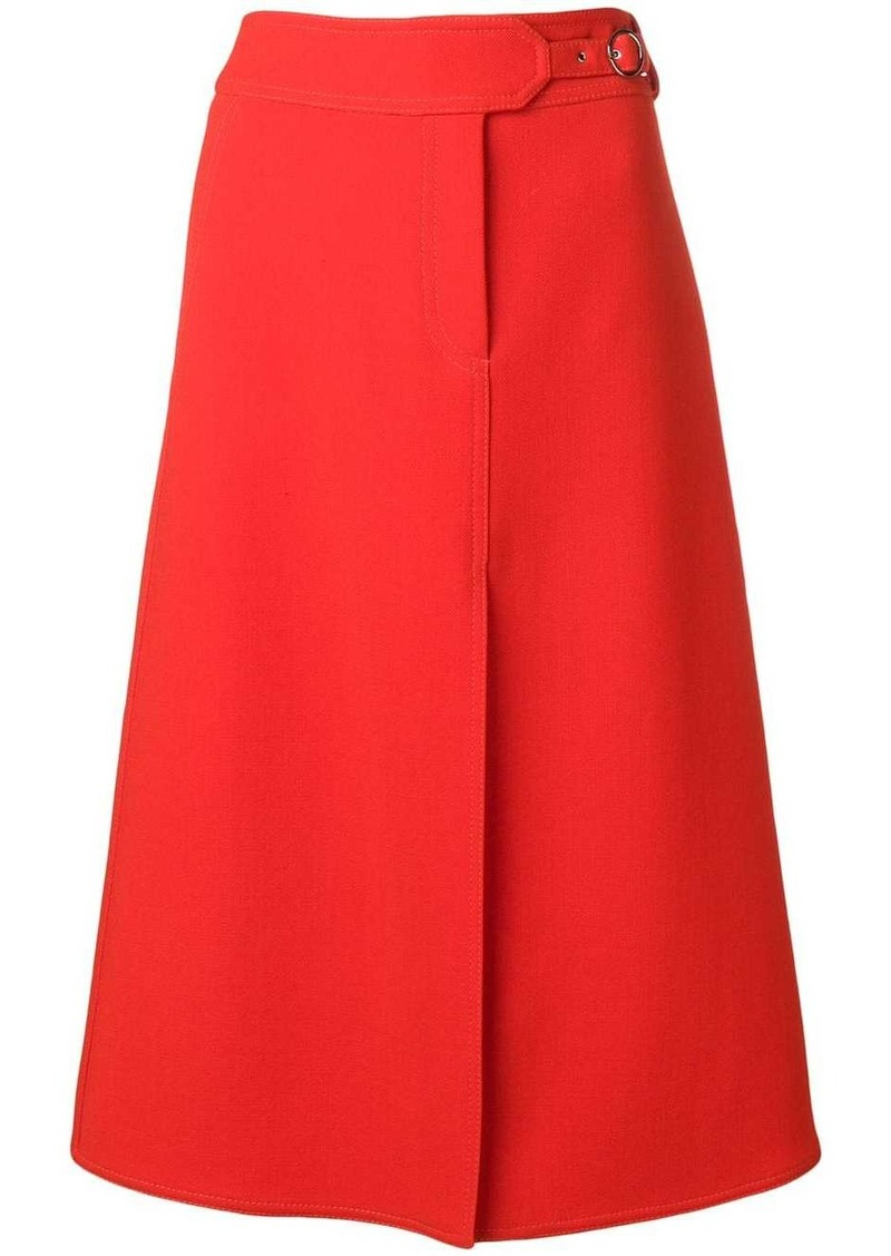 Emilio Pucci Red Split Hem Midi Skirt