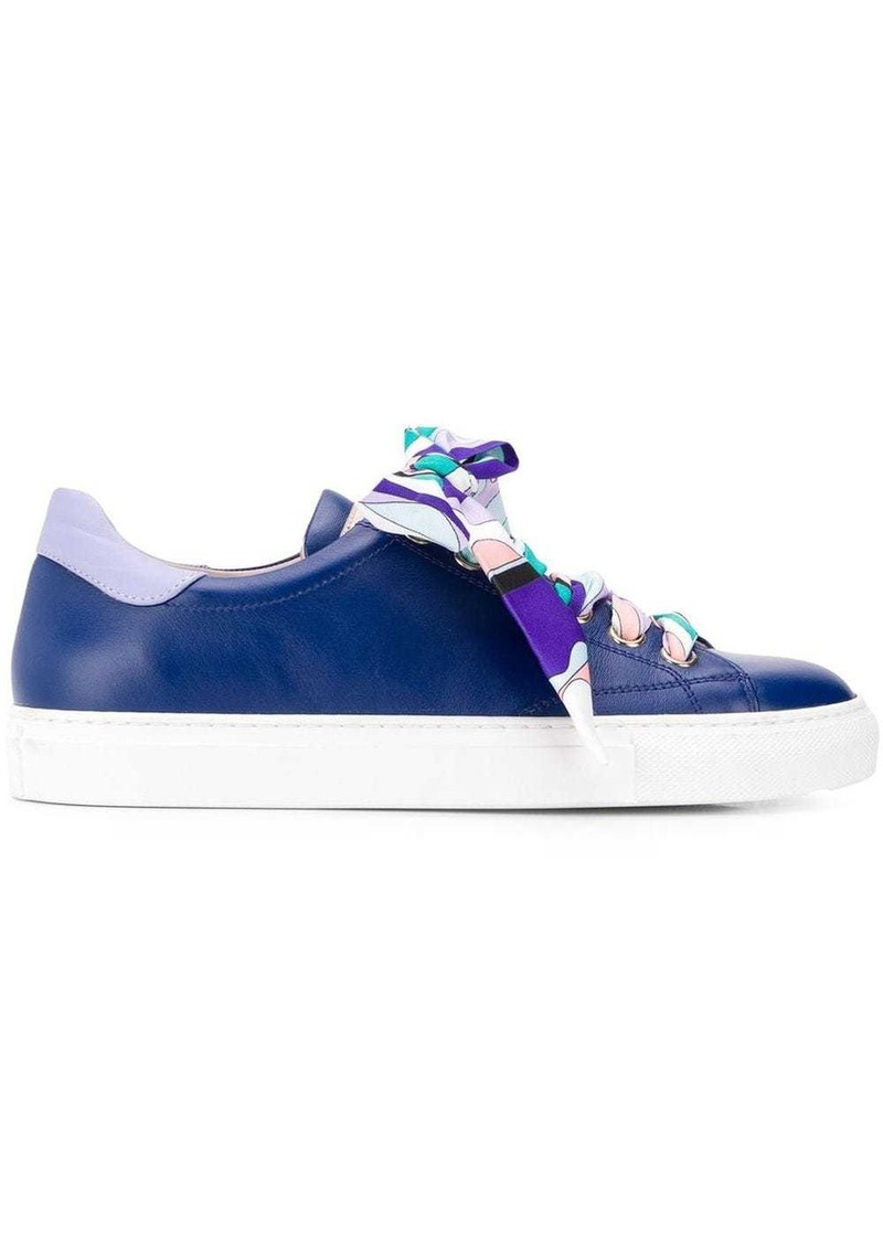 Emilio Pucci Ribbon Lace-up Twill Sneakers