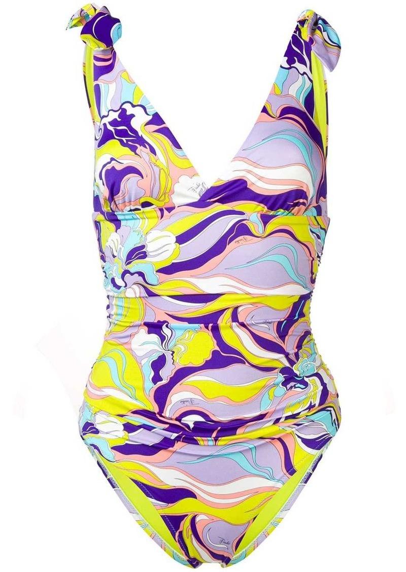 Emilio Pucci Rivera Print Knot Shoulder Swimsuit
