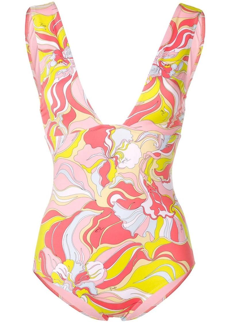 Emilio Pucci Rivera Print Plunge Swimsuit