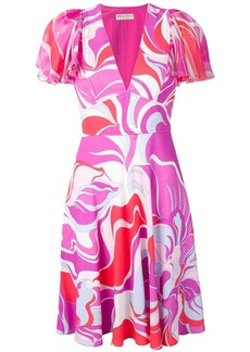 Emilio Pucci Rivera Print Ruffle Sleeve Dress
