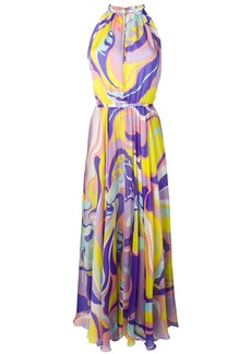 Emilio Pucci Rivera Print Silk Halter-Neck Dress