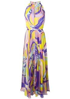 Emilio Pucci Rivera Print Silk Halter-Neck Dress