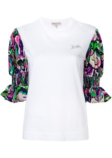Emilio Pucci ruffled printed sleeves T-shirt