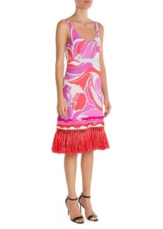 Emilio Pucci Sable Embellished Hem Print Tank Dress