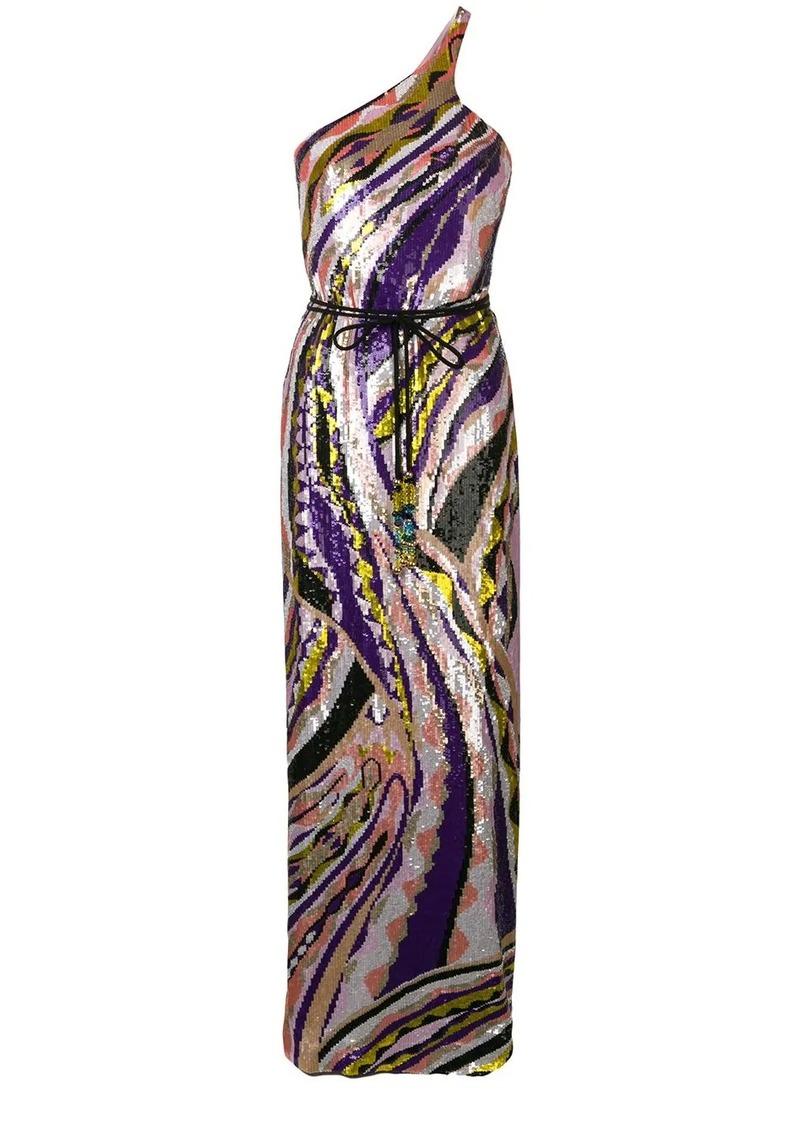 Emilio Pucci Sequin Embroidered Silk Maxi Dress