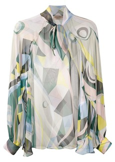 Emilio Pucci sheer Occhi-print blouse