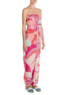 Emilio Pucci Silk-Blend Print Strapless Jumpsuit