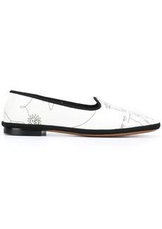 Emilio Pucci sketch print slippers