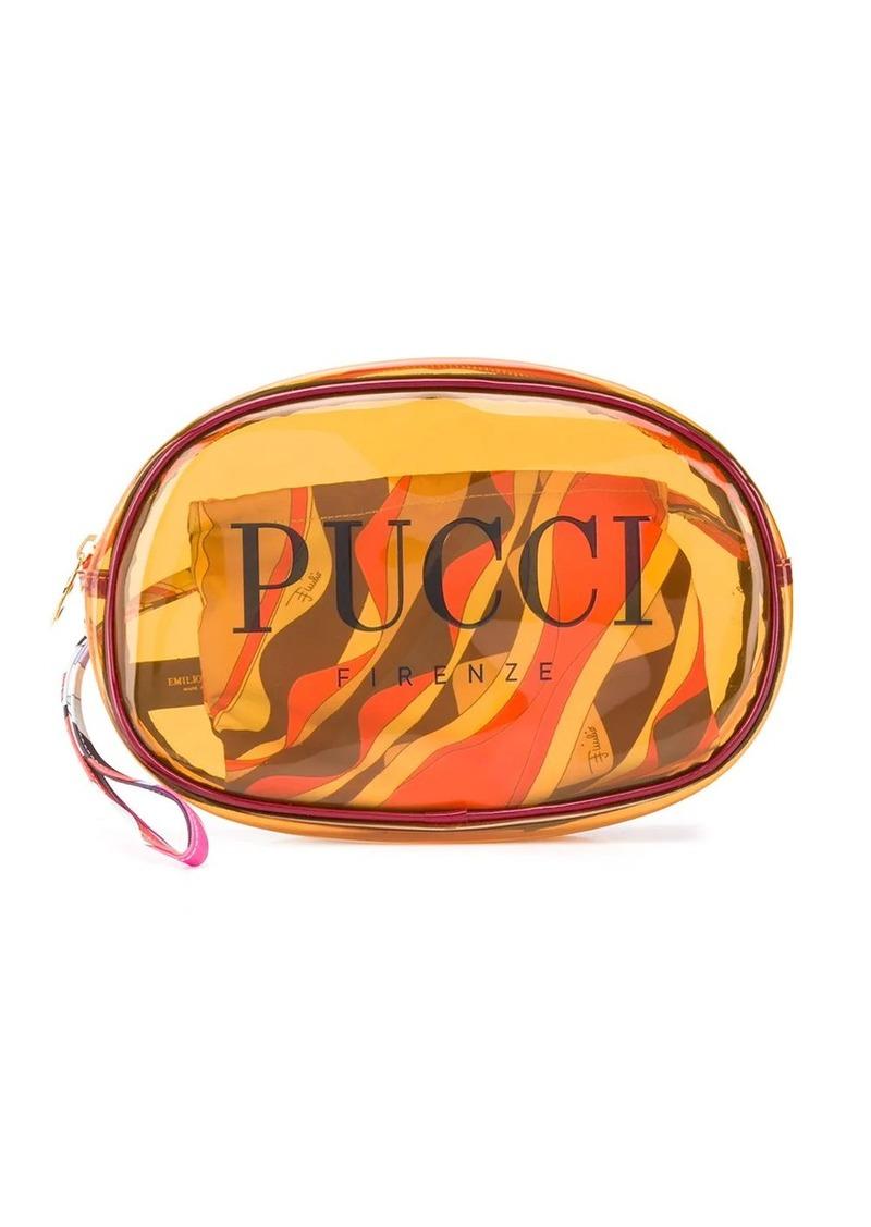 Emilio Pucci Small Orange Transparent Cosmetics Case