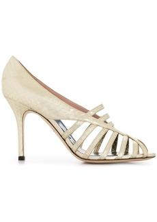 Emilio Pucci Metallic Elaphe Strappy Sandals