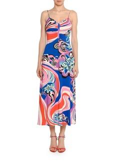Emilio Pucci Strappy V-Neck Midi Dress