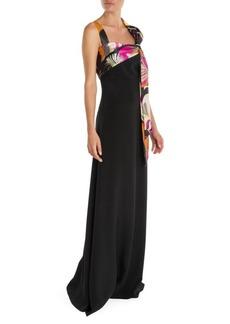 Emilio Pucci Tie Detail Silk Cady Gown