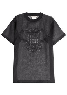 Emilio Pucci Transparent Cotton T-Shirt with Embroidered Cut-Out Detail
