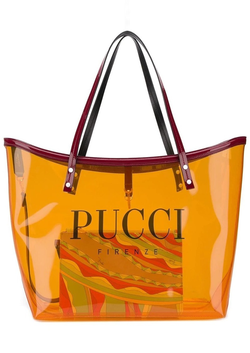 Emilio Pucci Transparent Orange Twist Tote Bag