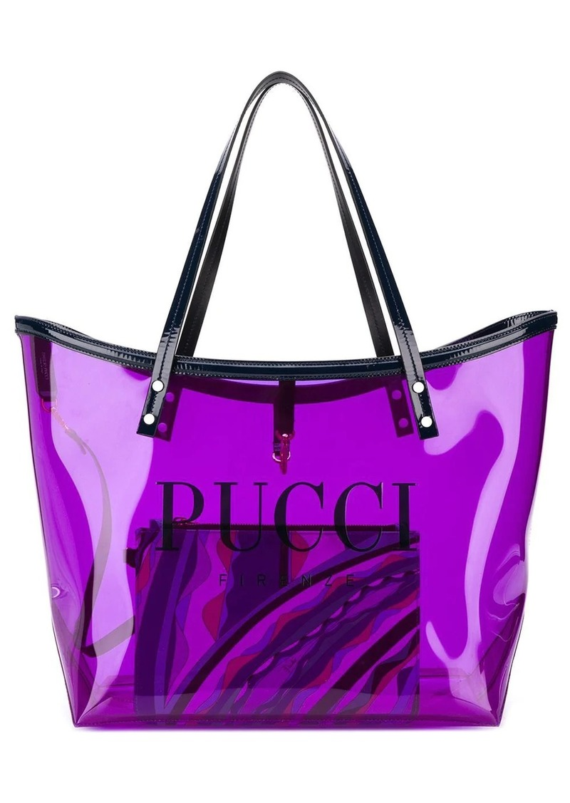 Emilio Pucci Transparent Purple Twist Tote Bag