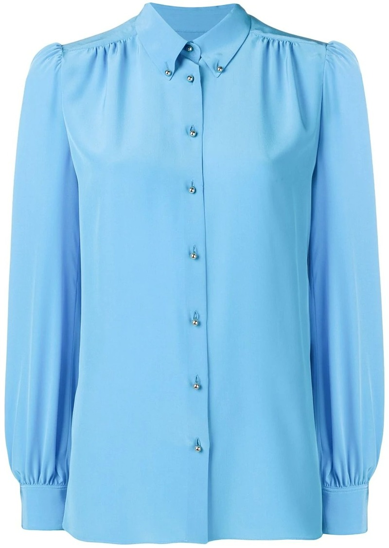 Emilio Pucci Turquoise Silk Button-Down Shirt