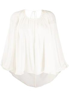 Emilio Pucci V-back balloon-sleeve blouse