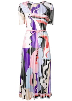 Emilio Pucci Vallauris Intarsia Pleated Wool Midi Dress
