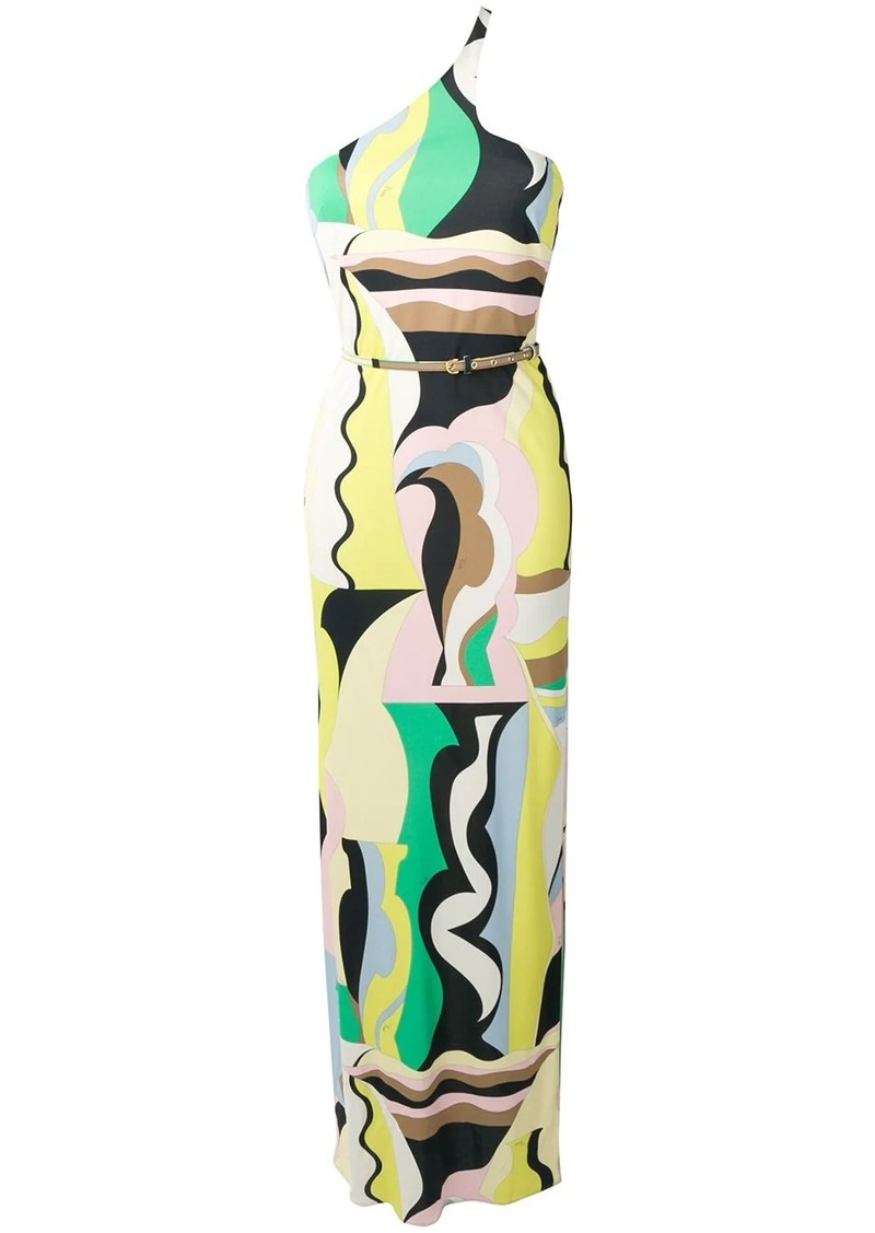Emilio Pucci Vallauris Print Asymmetric Belted Maxi Dress