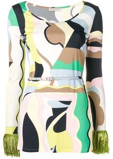 Emilio Pucci Vallauris Print Fringed Top