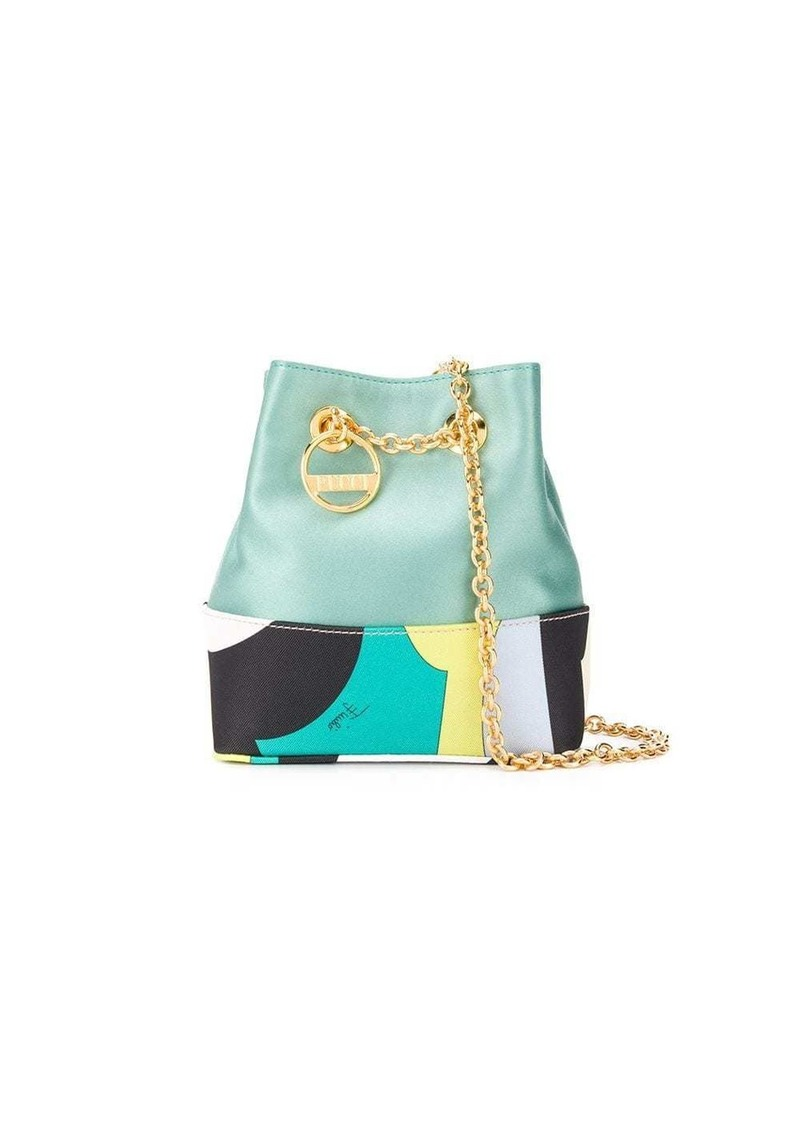 Emilio Pucci Vallauris Print Satin Bonita Mini Bucket Bag