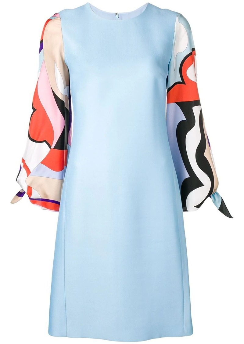 Emilio Pucci Vallauris Print Sleeve Knee-Length Dress