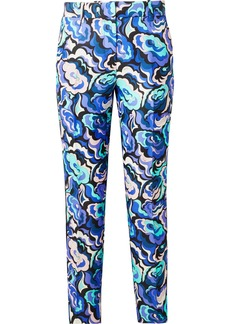 Emilio Pucci Velvet-trimmed Wool And Silk-blend Twill Slim-leg Pants
