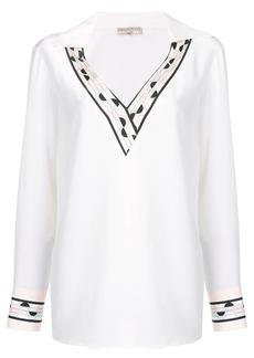 Emilio Pucci White Contrast Trim Silk Top