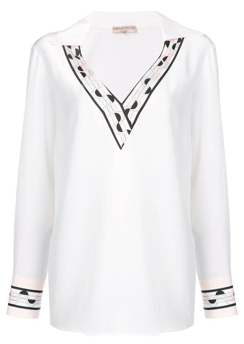 Emilio Pucci contrast trim silk top