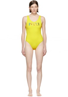 Emilio Pucci Yellow Logo One-Piece Swimsuit