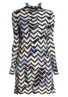 Emilio Pucci Zigzag-Print Mockneck Dress