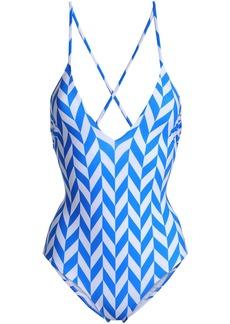 Emma Pake Woman Antonia Lace-up Printed Swimsuit Blue